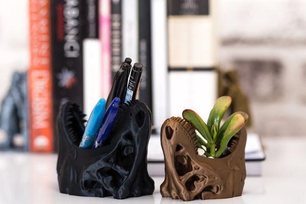 t-rex planter and pen holder